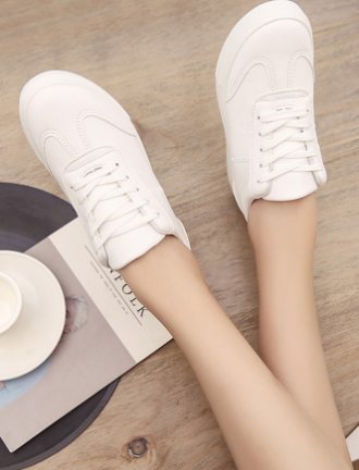 Simple white round toe sneakers