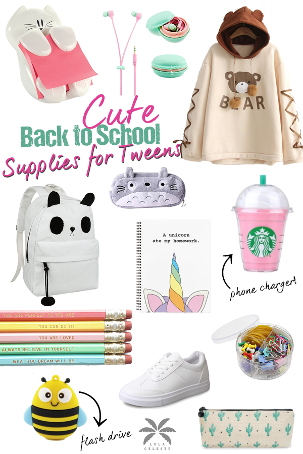 Best back to school supplies for middle school tweens! Your tween girl will love these 12 super cute supplies and show off her unique style. A fun list that my middle school girl put together herself!