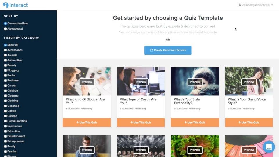 interact quiz premade template